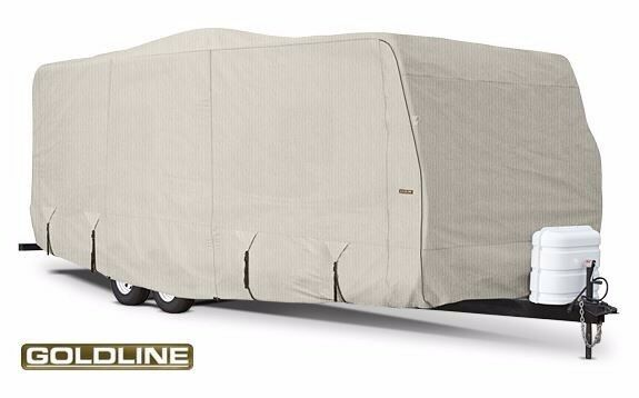 Goldline Premium RV Cover For Travel Trailer Motor Home Fits 44-46 foot Grey