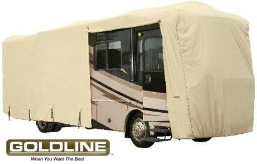 Goldline Premium Class A RV Trailer Cover Fits 44 to 46 foot Tan