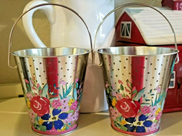 NEW! SET 2 PIONEER WOMAN FLORAL TIN PAILS~ BIRTHDAY LINE! CHOOSE PINK OR BLUE