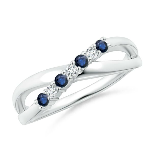 Round Natural Blue Sapphire and Diamond Crossover Ring GoldPlatinum Size 3-13