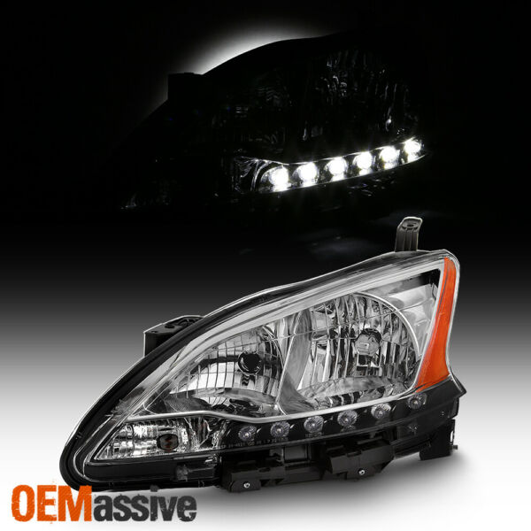 Fits 2013 2014 2015 Sentra Chrome LED DRL Left Driver One Side Headlight Lamp