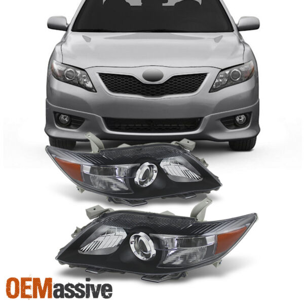 Fits 2010 2011 Toyota Camry Black Projector Headlights Replacement Lamps LH+RH