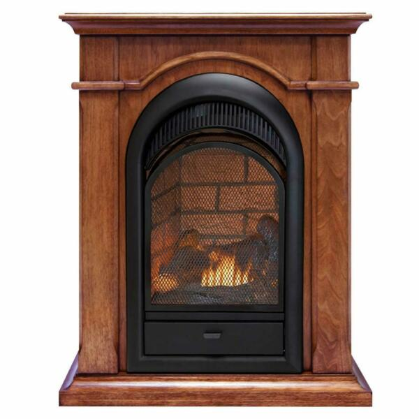Duluth Forge Dual Fuel Ventless Fireplace With Mantel - Apple Spice Finish