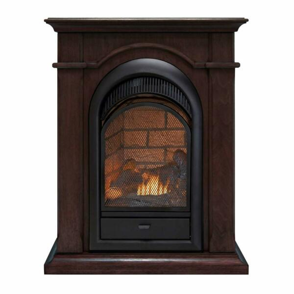 Duluth Forge Dual Fuel Ventless Fireplace With Mantel - Chocolate Finish