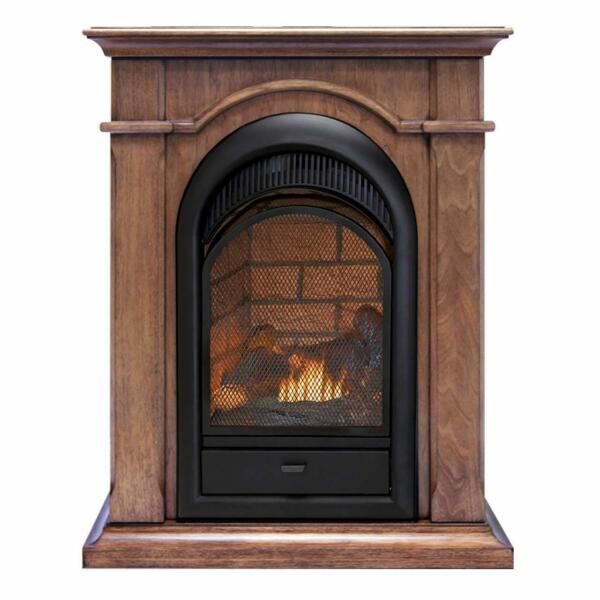 Duluth Forge Dual Fuel Ventless Fireplace With Mantel - Toasted Almond Finish