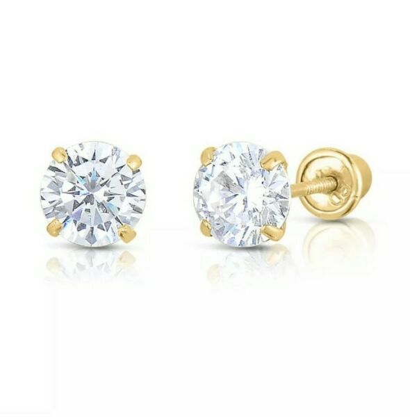 10K Yellow Gold 2mm-10mm Round CZ Birthstone Stud Earrings W Safety Screw Back