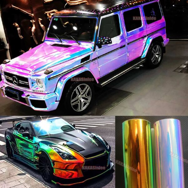 Bubbles Free Car Glossy Rainbow Mirror Chameleon Chrome Vinyl Wrap Sticker CFUS