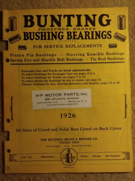 1926 Bunting bushing bearings catalog for service replacements Piston Pins etc