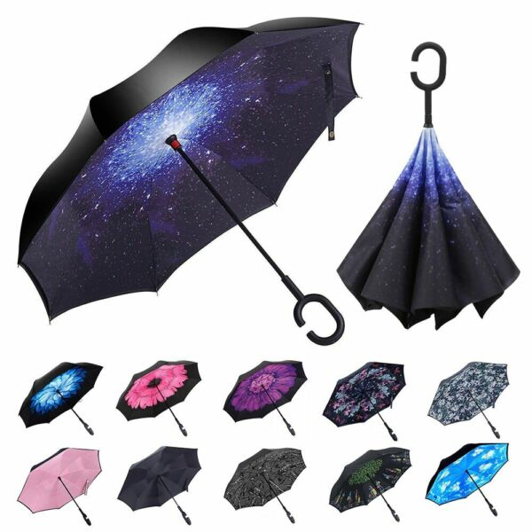 Double Layer Inverted Umbrella w C-Shaped Handle UV Windproof Reverse Parasols