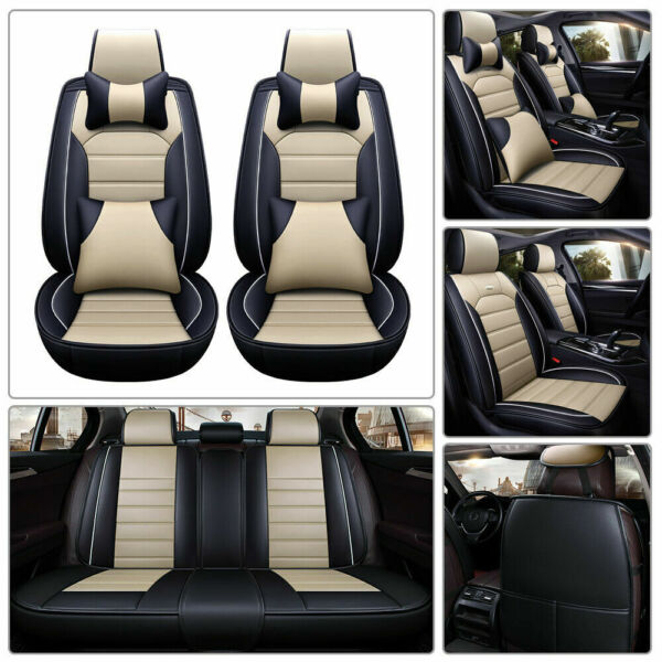 US Luxury 5-Seats Car Seat Cover PU Leather Front&Rear SUV Cushion Set Universal $81.95
