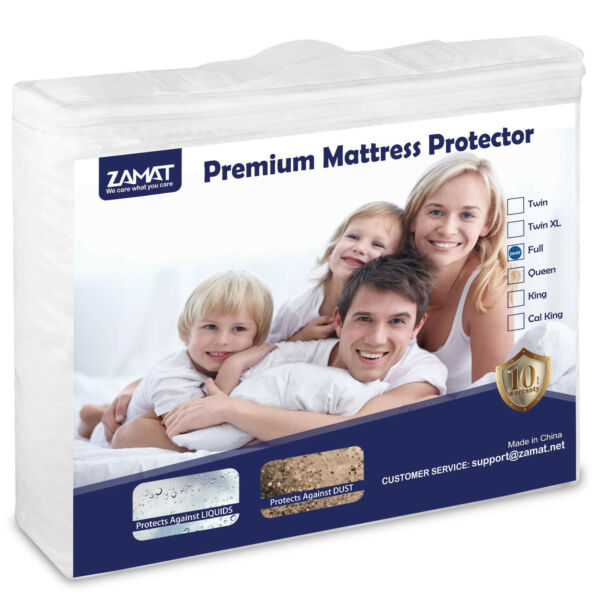 Cooling Cotton Terry Matress Protector Waterproof Noiseless Fitted Deep Pocket