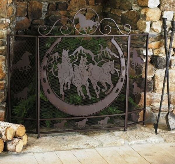 Rustic Country Running Horses and Horseshoe Fireplace Screen Mesh Metal Trifold