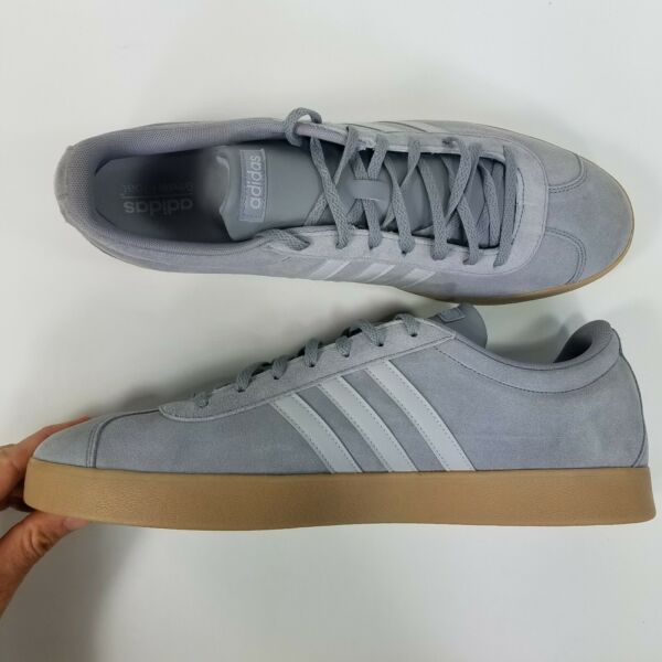 Classic Adidas Mens Grey Suede 3-Stripe Low-Top Size 17 NWOT