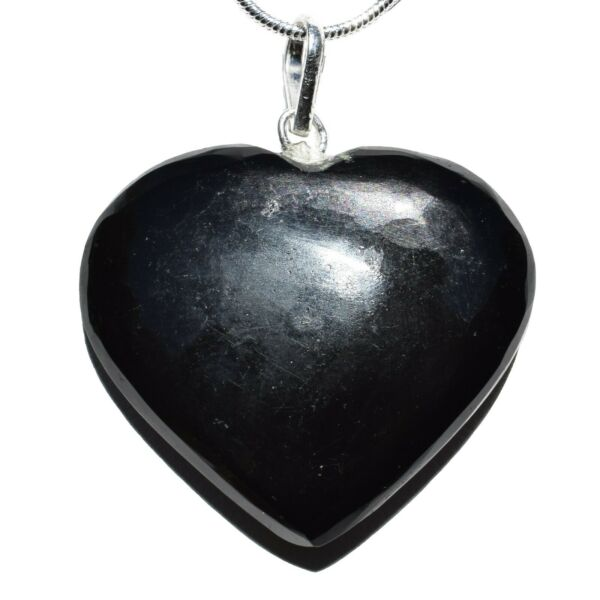 CHARGED Himalayan Black Obsidian Crystal HEART Pendant + 20