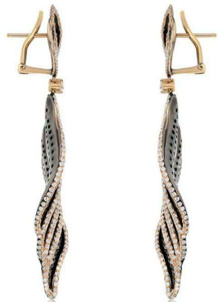 LARGE 7.79CT WHITE & BLACK DIAMOND 18KT 2 TONE GOLD MULTI LEAF HANGING EARRINGS