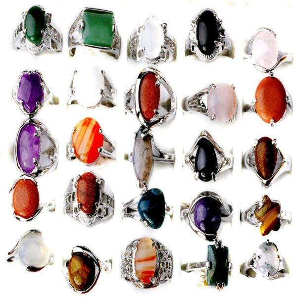 80100Pcs Wholesale Bulk Ring Natural Stone Silver Plated Band Rings Jewelry Lot