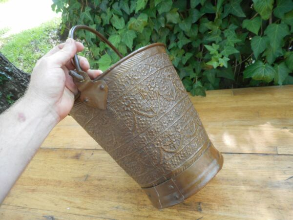 Beautiful Antique Copper Pail Water Pot Bucket Engraved Persian Middle East