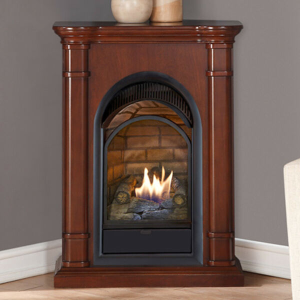 Duluth Forge Dual Fuel Ventless Fireplace With Mantel -15000 BTU Walnut Finish