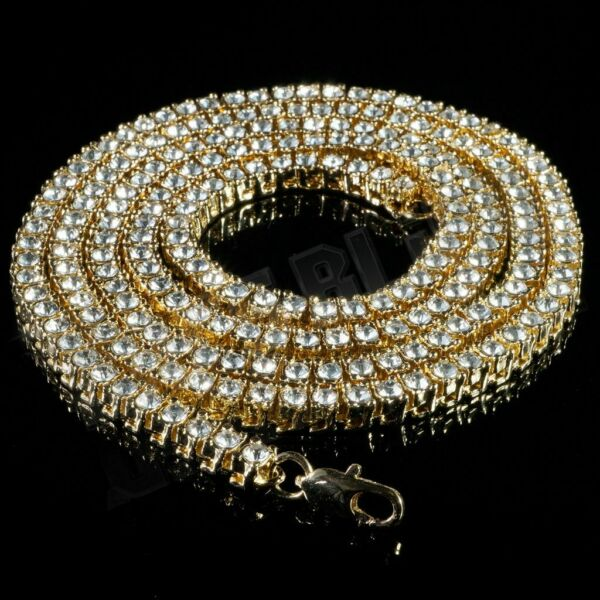 14k Yellow Gold Flooded Out Iced Lab Diamond Mens 1 Row Tennis Chain Necklace
