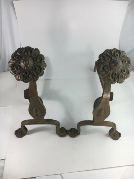 Art Nouveau Antique Cast Fireplace Andirons w Medallions amp; Brass Wash #1297