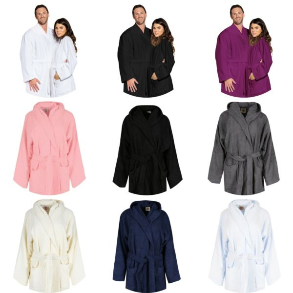 Luxury Hooded Bath Robe 100% Terry Cotton Toweling Dressing Gown Spa LightWeight $24.99