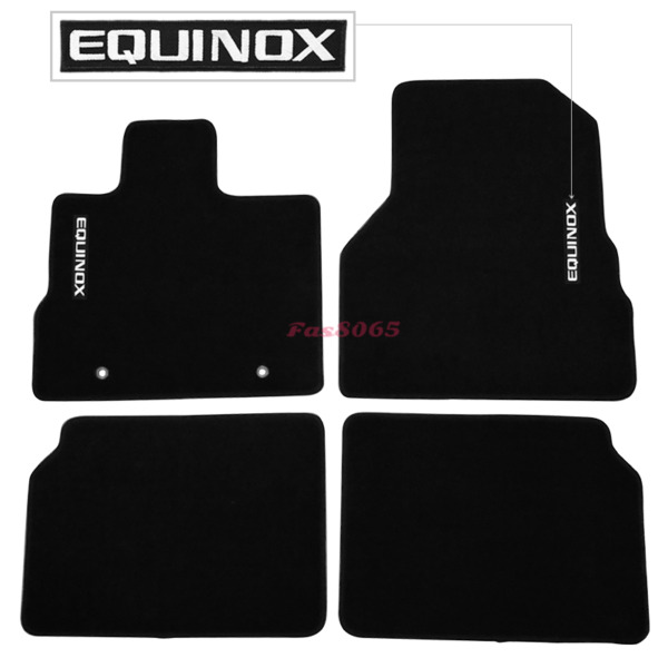 For 10-17 Chevy Equinox Black Floor Mats Front & Rear Nylon w White Equinox