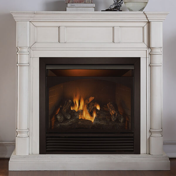 Duluth Forge Dual Fuel Ventless Fireplace - 32000 BTU Antique White Finish