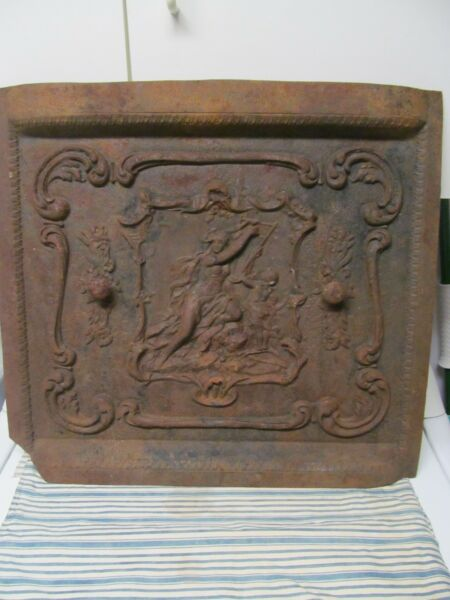 Antique Cast Iron Fireplace Cover WomanChild Playing a Harp. 2 VentsGrate