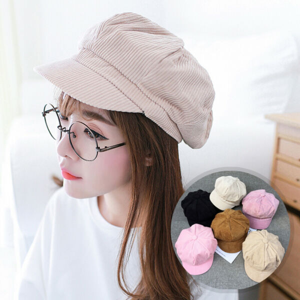 Women Girl Fashion Corduroy Peaked Newsboy Gatsby Beret Baseball Cap Cabbie Hat
