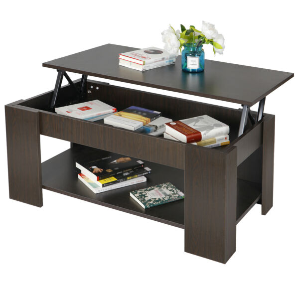 Multifunctional Coffee Table Lift up Top Hidden Storage Compartment Lower Shelf