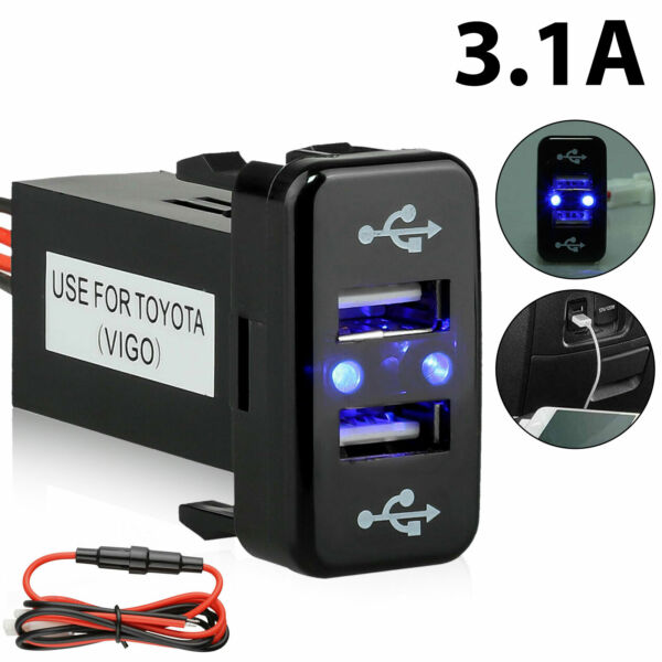 3.1A Car Charger Socket Dual 2 USB Port Charging Power Adapter Outlet for Toyota $11.98