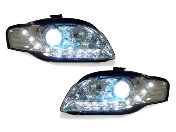 DEPO Chrome Bi-Xenon HID R8 LED Headlights For 2006-2008 Audi A4 B7 4D5D Avant