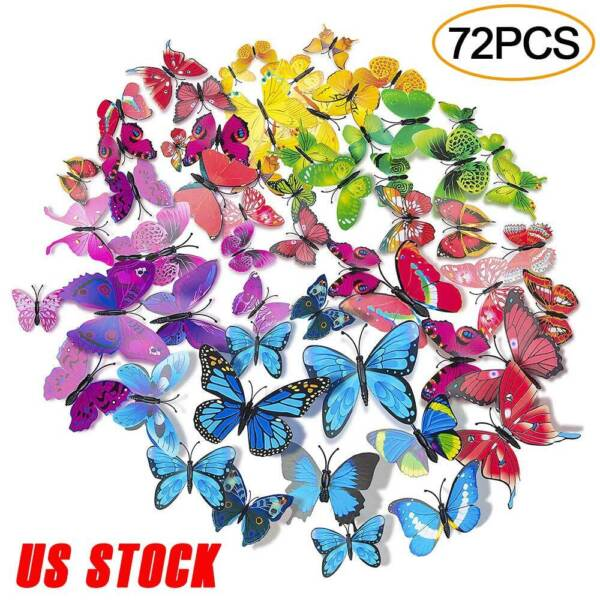 72 Pcs 3D Butterfly Wall Stickers Decal Removable Mural Home Room Nursery Decor