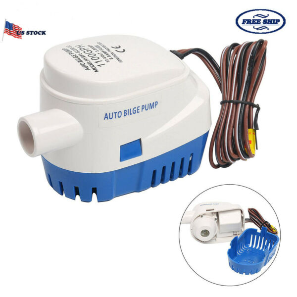 12V 1100GPH Automatic Submersible Boat Bilge Water Pump & Float Switch US SELLER