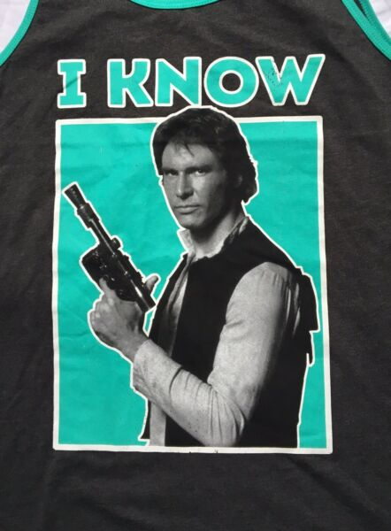 FREE SHIPPING New Tags Star Wars Han Solo Quote I Know Large Ladies Tank