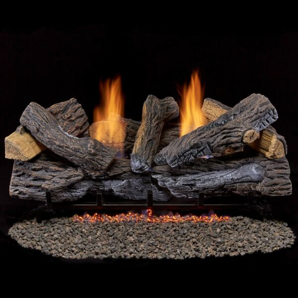 Duluth Forge Ventless Propane Gas Log Set 30 in. Stacked Red Oak  Manual Control