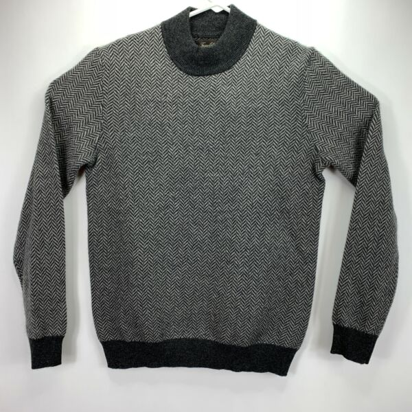 Tasso Elba Mens Cashmere Herringbone Mock Neck Sweater Charcoal S