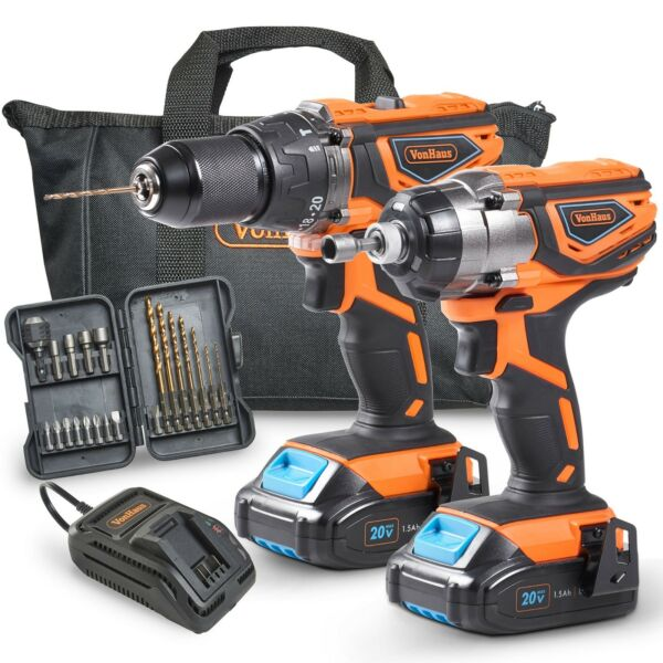 VonHaus 20V Cordless 2-TooI Drill & Driver Combo Kit with Battery & Charger