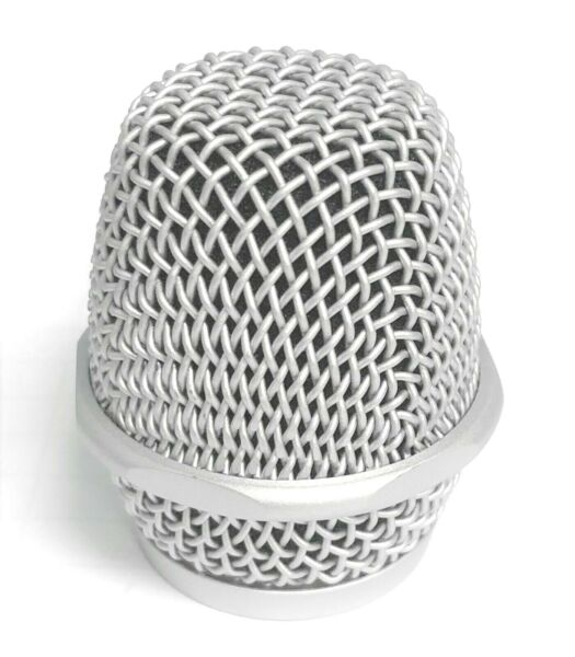Steel Wireless Handheld Microphone MIC Replacement Mesh Grill Head Silver