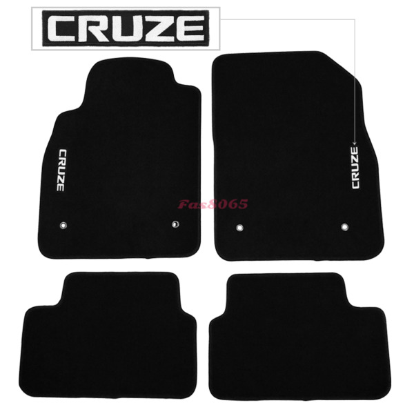 Fits 08-16 Chevrolet Cruze Black Nylon Floor Mats Carpets w Embroidery