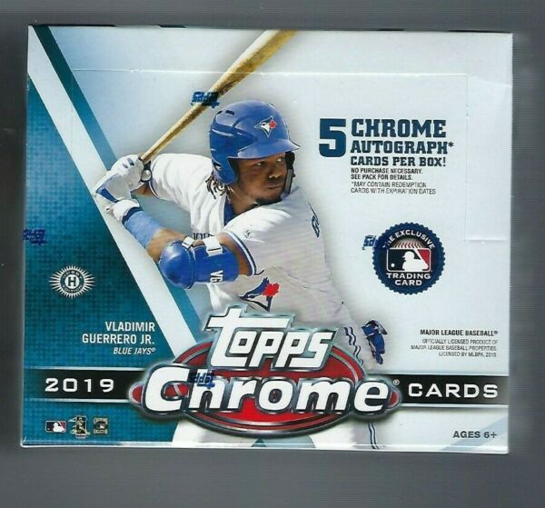 2019 Topps Chrome Baseball Sealed Jumbo Box 5 Autographs