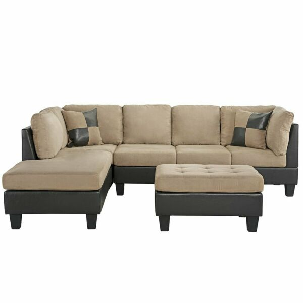 3 Piece Microfiber Faux Leather Sectional Sofa with Reversible Chaise Hazelnut $629.99