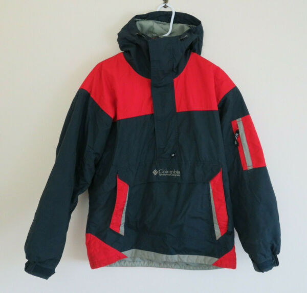 Columbia SportsWear Company Kangaroo Pouch Adjustable Red Blue Jacket Size Small $26.35