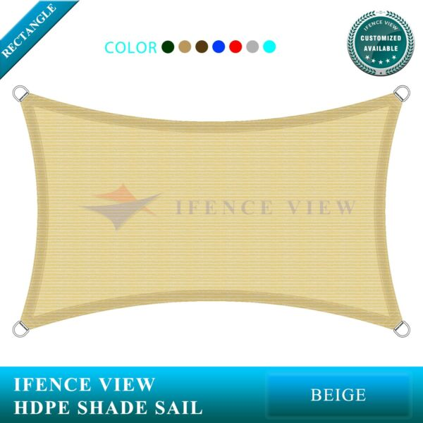 Ifenceview Beige 22'x22'-22'x44' Rectangle Sun Shade Sail Patio Canopy Awning