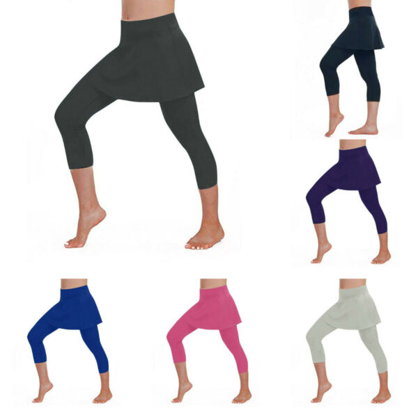 New Women Solid Skirt Leggings Tennis Pants Yoga Sports Fitness Cropped Culottes