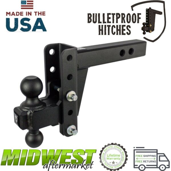 Bulletproof Hitches 2.0quot; Solid Steel Shank Heavy Duty 4quot; Drop Rise Ball Hitch $299.00