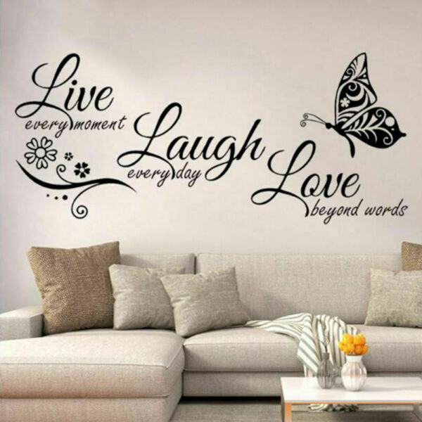 Live Laugh Love Quotes Butterfly Wall Stickers Art Living Room Decal Home Decor