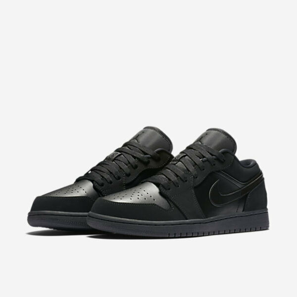 AIR JORDAN 1 LOW MENS 553558-023 TRIPLE BLACK AF1 OG RETRO ALL SIZES SHIP NOW