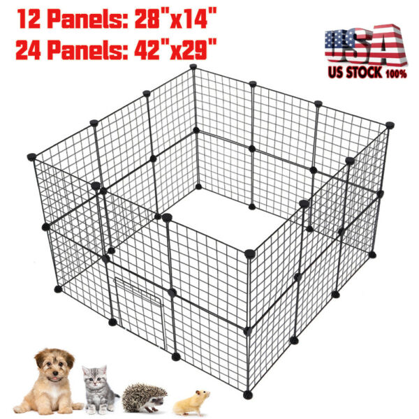 Dog Pet Playpen Heavy Duty Metal Exercise Fence Hammigrid 1224 Panel WDoor US