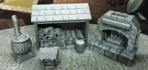 4 Piece Fireplace & Stove Set Scatter Terrain Dungeons & Dragons Mini Model